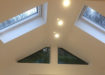 Velux windows with vaulted ceiling and internal spotlights