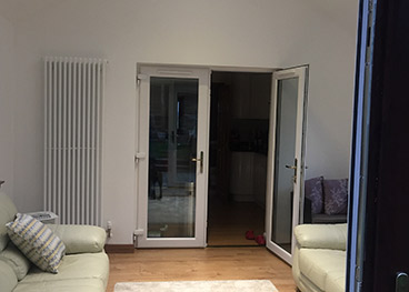 Internal uPVC Doors with large vertical radiator.